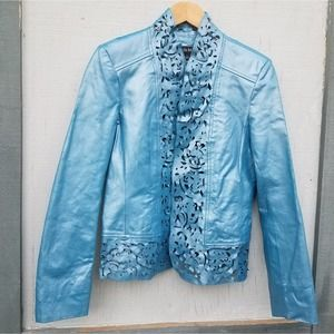 Pamela McCoy | Vintage Leather Jacket Bright Blue